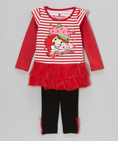 Red Stripe 'Besties' Skirted Tunic & Leggings - Toddler