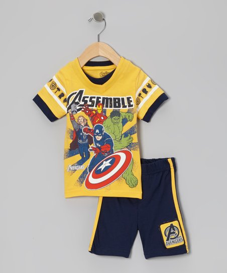 Yellow & Navy 'Avengers' Tee & Shorts - Infant