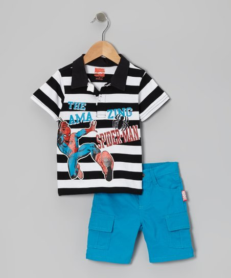 Black & Blue Stripe 'Spider-Man' Polo & Shorts - Toddler & Boys