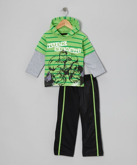 Green 'Hulk Smash!' Hooded Tee & Black Pants - Toddler