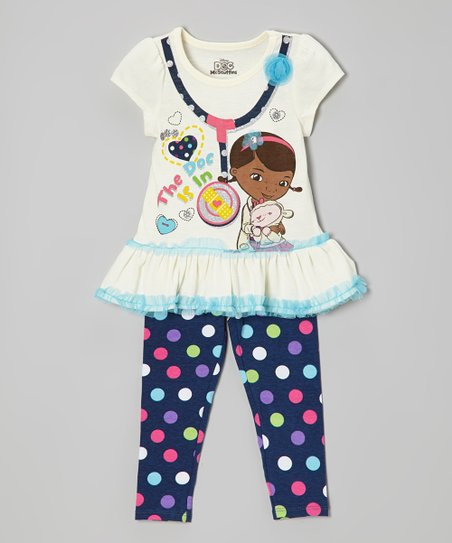 White & Blue 'Doc Is In' Skirted Tee & Leggings - Toddler