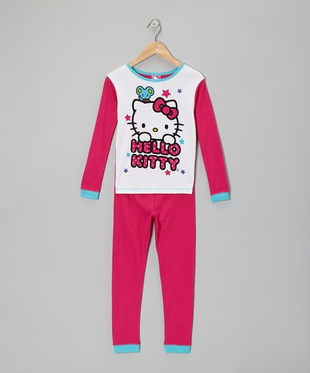 Fuchsia & White Hello Kitty Pajama Set - Girls