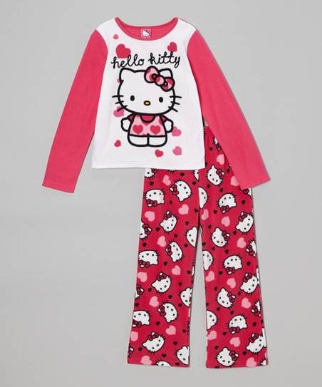 Red Hello Kitty Heart Pajama Set - Girls