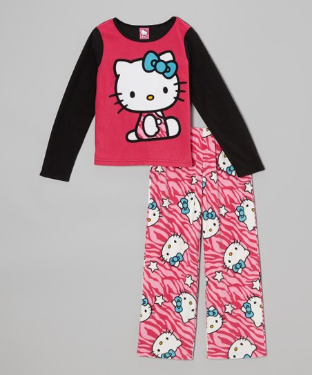 Pink & Black Hello Kitty Zebra Pajama Set - Girls