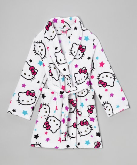 White Hello Kitty Stars Robe - Girls