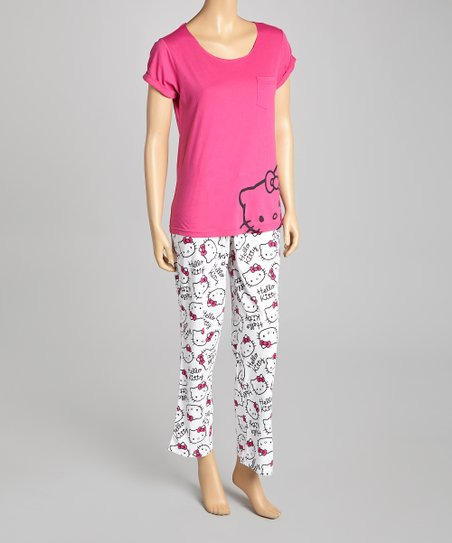 Pink & White Hello Kitty Pajamas - Junior