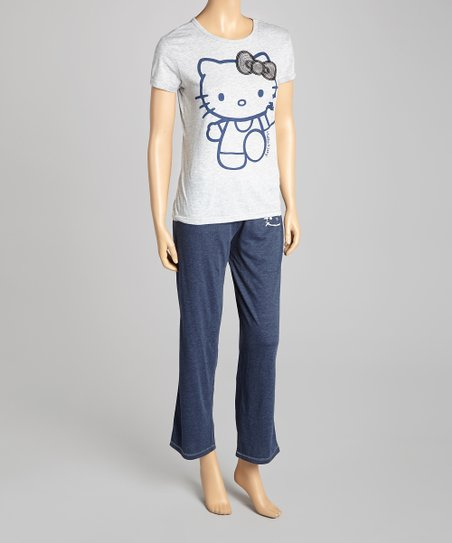 Gray & Navy Sequin Hello Kitty Pajamas - Women