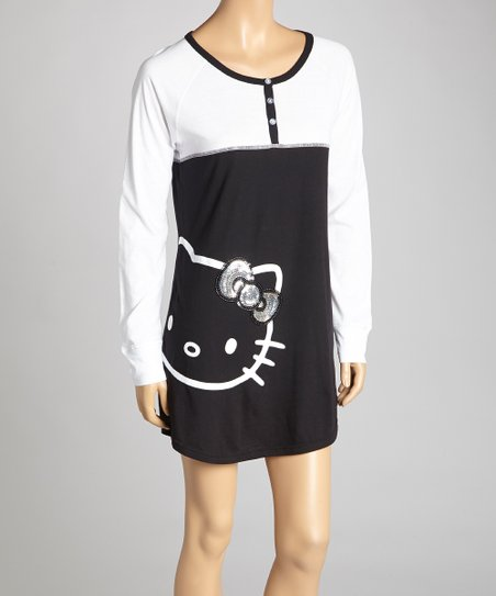White & Black Sequin Bow Nightgown - Junior