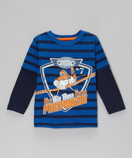 Blue Stripe 'Big Boss' Layered Tee - Toddler
