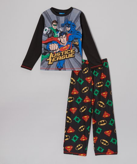 Black 'Justice League' Pajama Set - Boys