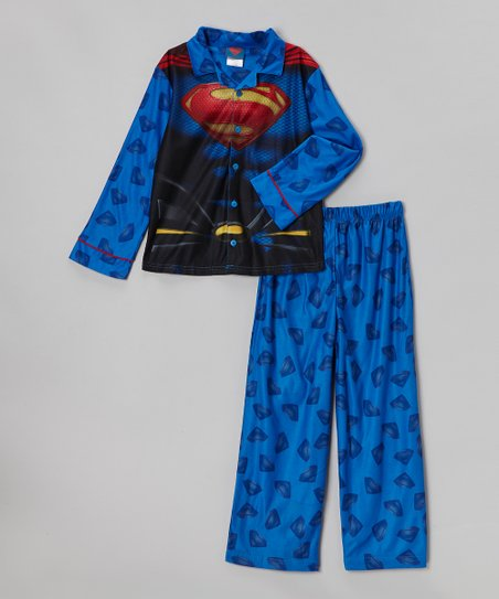 Blue Superman Costume Chest Pajama Set - Boys