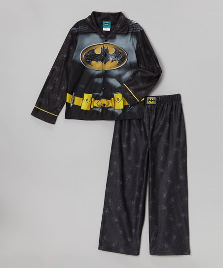 Black Batman Costume Chest Pajama Set - Boys
