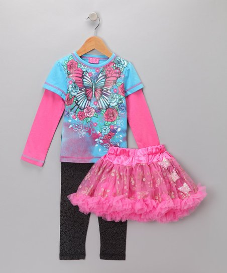 Blue & Pink Butterfly Pettiskirt Set - Infant, Toddler & Girls