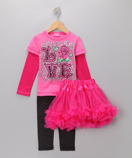 Pink 'Love' Pettiskirt Set - Infant, Toddler & Girls