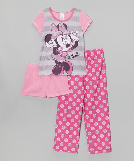 Pink Polka Dot 'Minnie' Pajama Set - Girls
