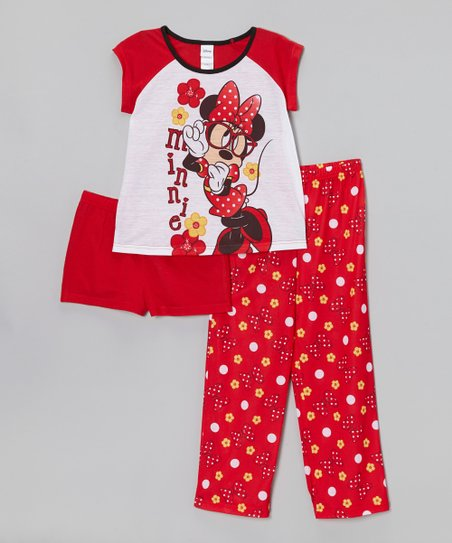 Red 'Minnie' Flower Pajama Set - Girls