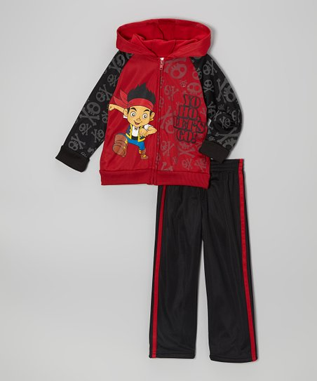 Red & Black Zip-Up Jacket & Track Pants - Toddler