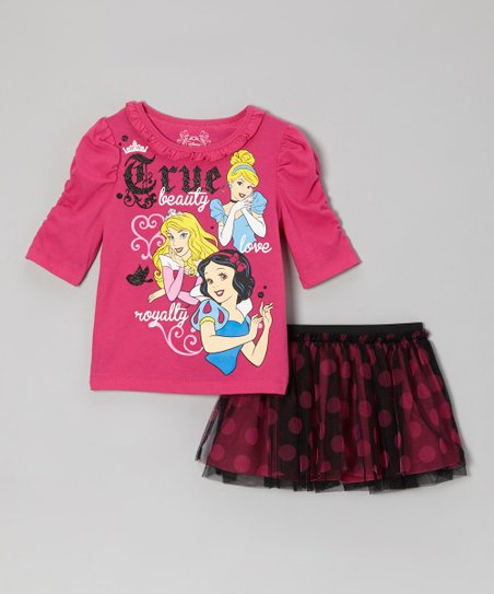 Pink 'True' Ruched Tee & Black Polka Dot Skort - Toddler & Girls