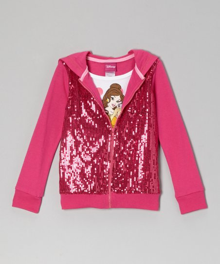 Pink Sequin 'Princess' Layered Zip-Up Hoodie - Toddler