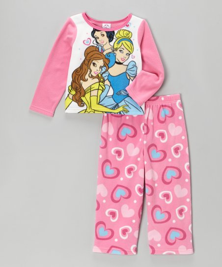 Pink Princess Heart Fleece Pajama Set - Infant & Toddler