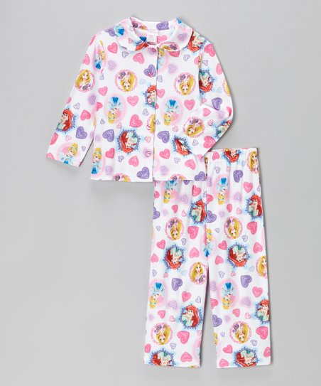 White Princess Heart Pajama Set - Infant