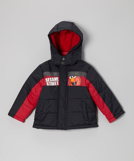 Black Hooded Elmo Puffer Coat - Infant & Toddler