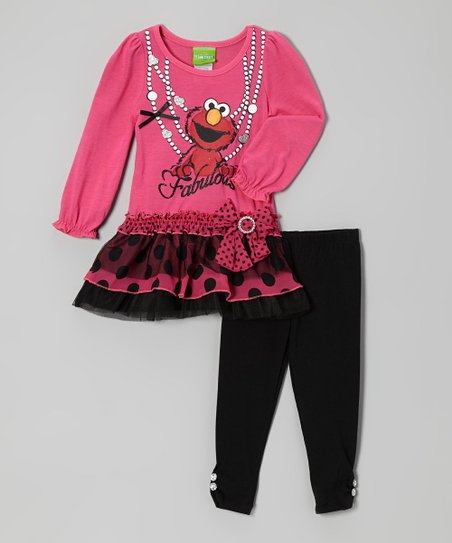 Bright Pink Elmo Skirted Tunic & Leggings - Infant & Toddler