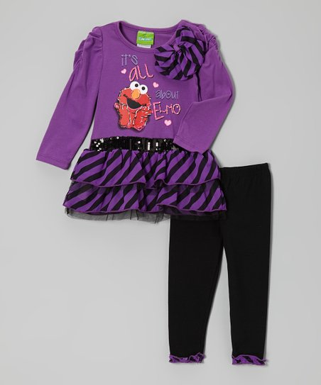 Purple Elmo Skirted Tunic & Leggings - Infant & Toddler