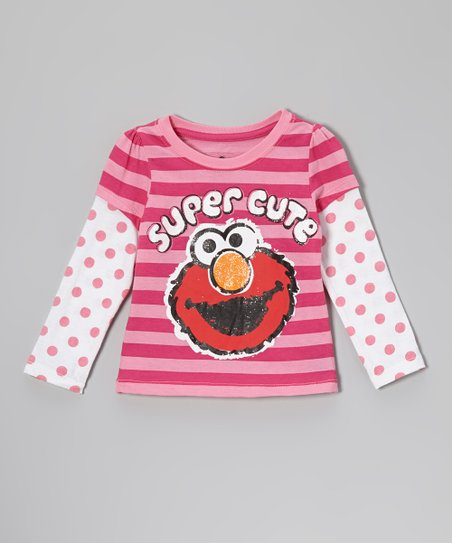 Pink Stripe & Polka Dot 'Super Cute' Layered Tee - Toddler