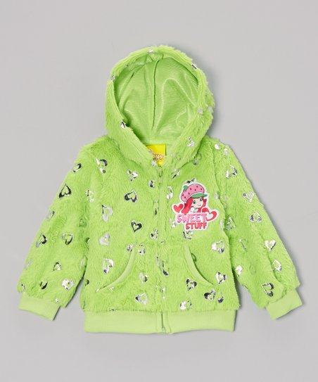 Green 'Sweet Stuff' Heart Zip-Up Hoodie - Toddler & Girls