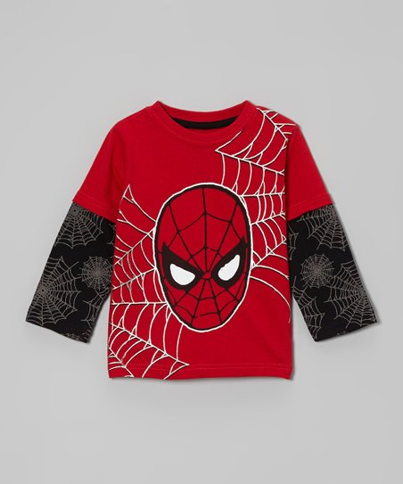 Red & Black Spider-Man Face Layered Tee - Toddler