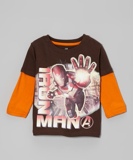 Brown & Rust 'Iron Man' Layered Tee - Toddler