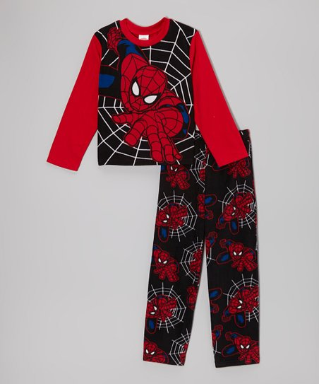 Red & Black Spider-Man Pajama Set - Boys