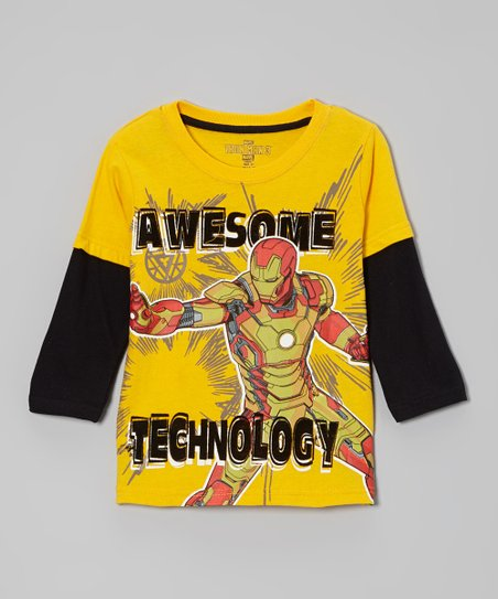 Yellow 'Awesome Technology' Layered Tee - Toddler