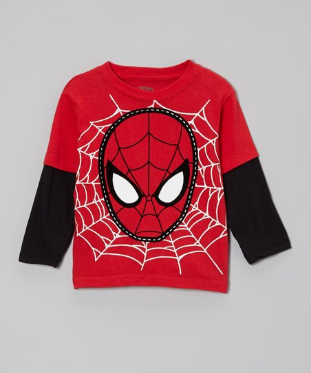 Red Spider-Man Mask & Web Layered Tee - Toddler