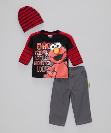 Black 'Friendly Little Monster' Pants Set - Infant & Toddler
