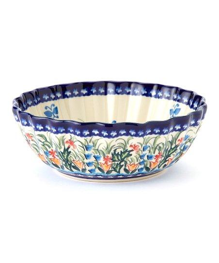 Blue Butterfly Garden Shell Bowl