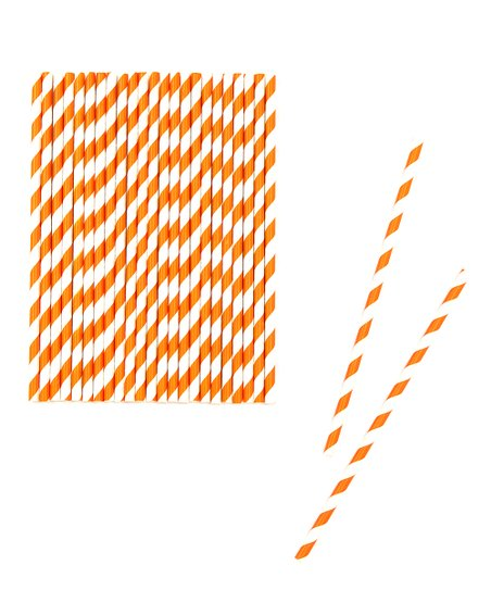 Tangerine Stripe Biodegradable Straw – Set of 50