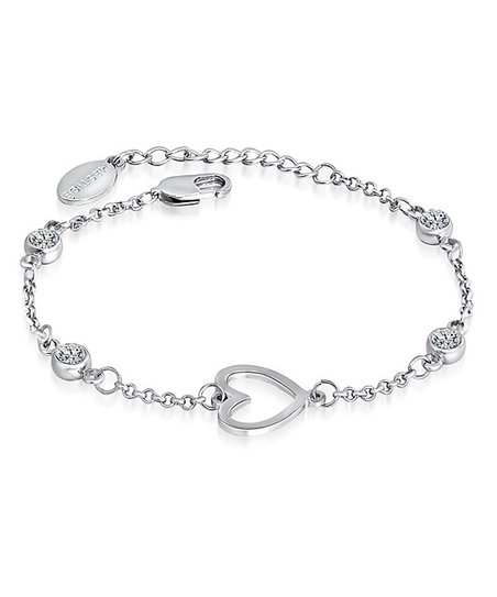 Silver Crystal Heart Charm Bracelet Made With SWAROVSKI ELEMENTS