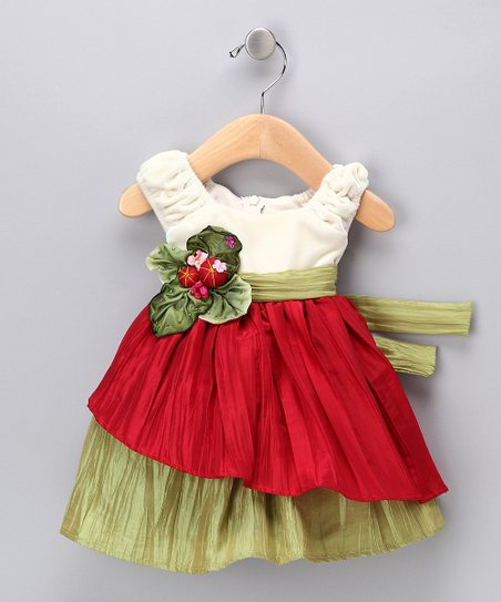 Cream & Red Velvet Dress - Infant, Toddler & Girls
