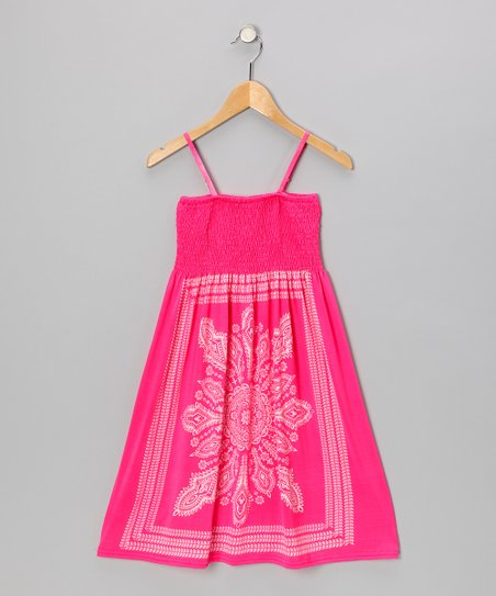 Pink Peacock Convertible Dress - Girls