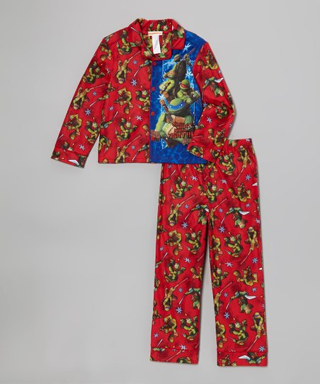 Red TMNT 'Silent Night Ninja Fight' Pajama Set - Boys
