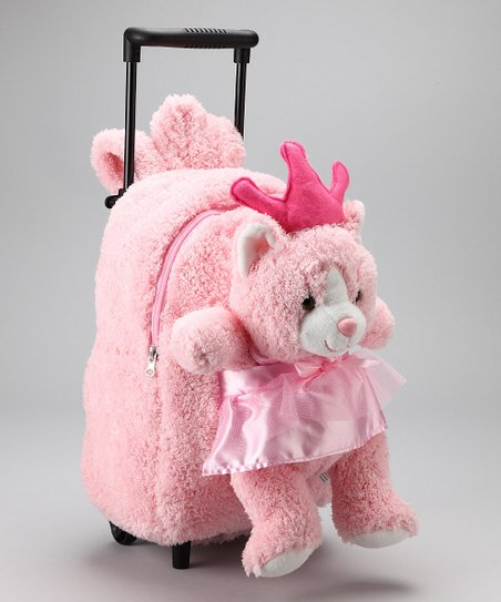 Pink Cat Rolling Backpack