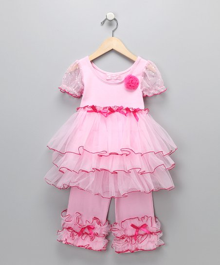 Pink Ruffle Dress & Pants - Infant, Toddler & Girls