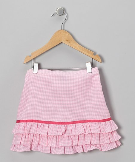 Pink Gingham Ruffle Skirt - Toddler & Girls