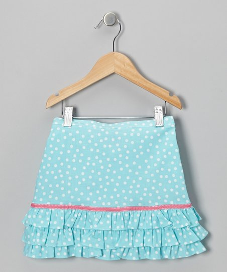 Aqua & White Polka Dot Ruffle Skirt - Toddler & Girls