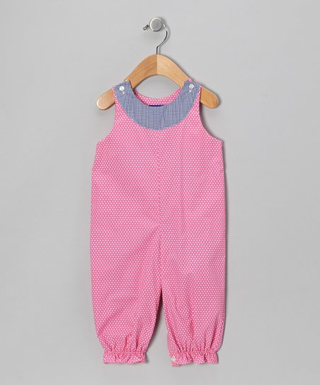 Hot Pink & White Polka Dot Bubble Playsuit - Infant