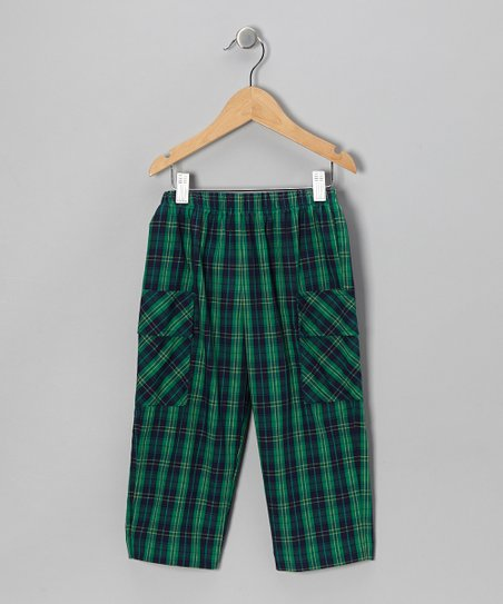 Navy & Green Plaid Pocket Pants - Infant & Toddler