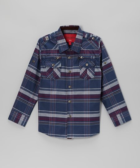 Blue & Purple Plaid Zip Pocket Button-Up - Toddler & Boys