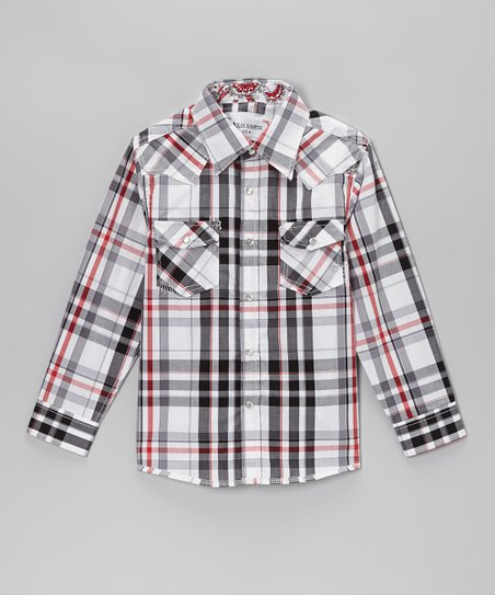 Gray & Red Plaid Embellished Button-Up - Toddler & Kids